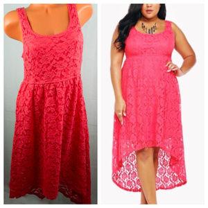 TORRID Hi-Lo DRESS Lace LACY Coral Pink 16 XL 1X
